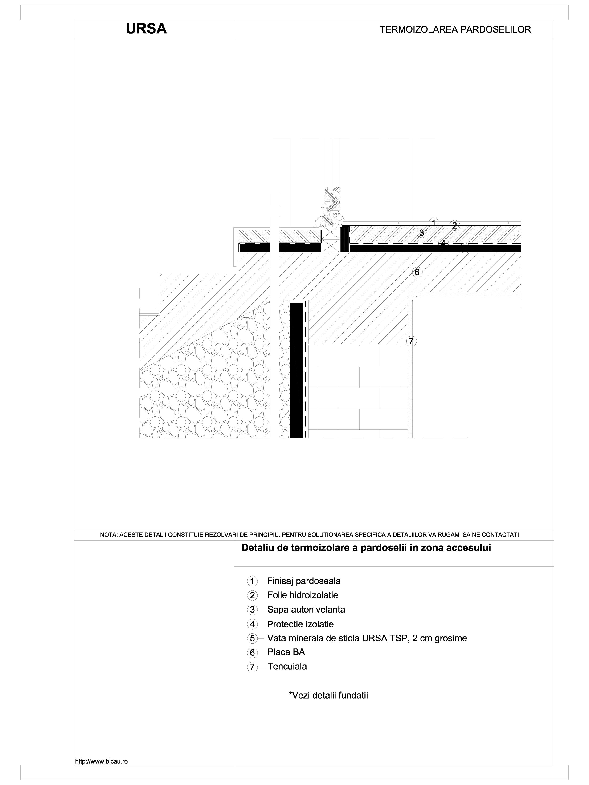 Detaliu de termoizolare a pardoselii in zona accesului TSP URSA Vata minerala pentru pardoseli URSA ROMANIA   - Pagina 1