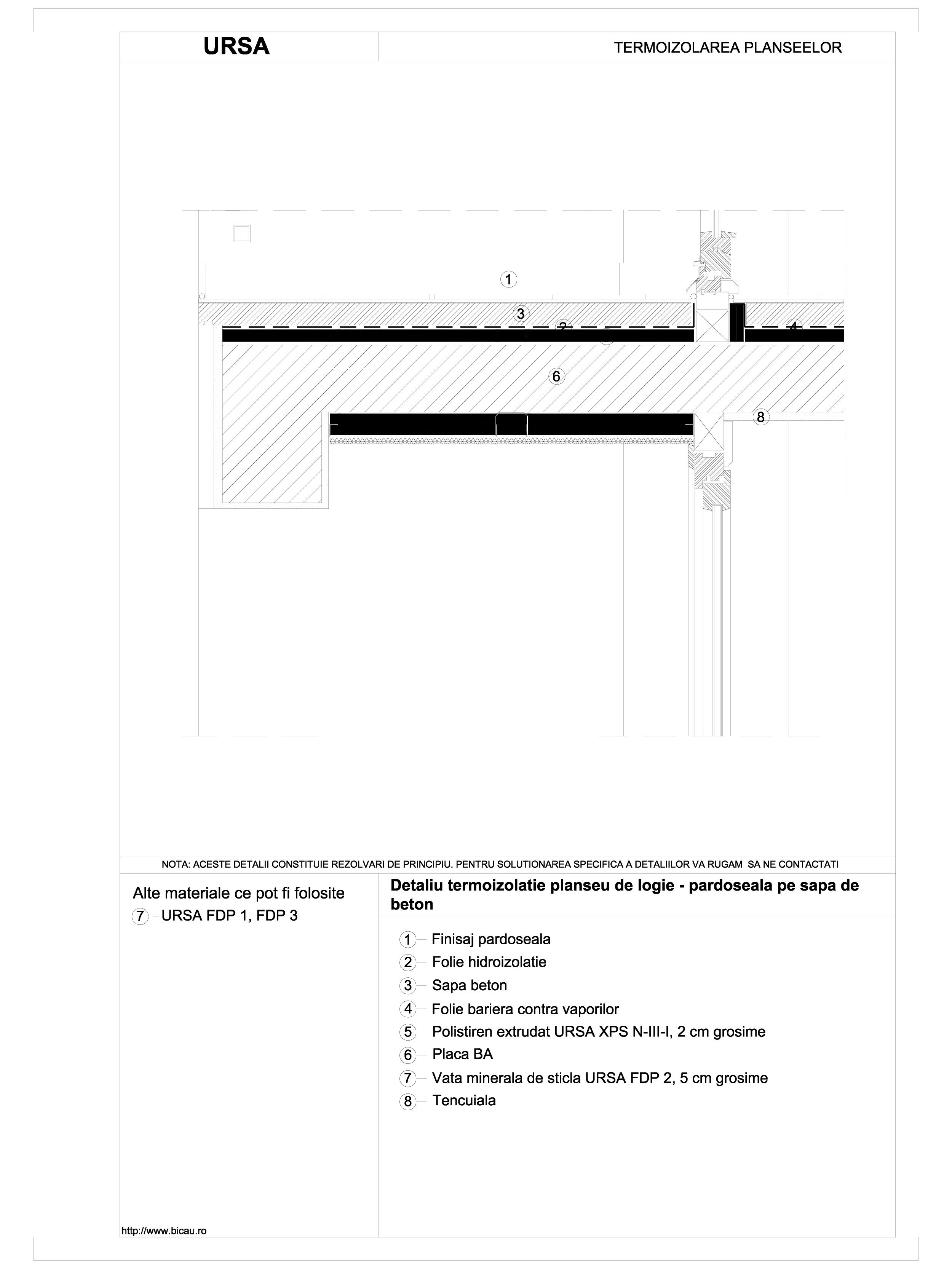 Detaliu termoizolatie planseu de logie - pardoseala pe sapa de beton URSA Vata minerala pentru pardoseli URSA ROMANIA   - Pagina 1