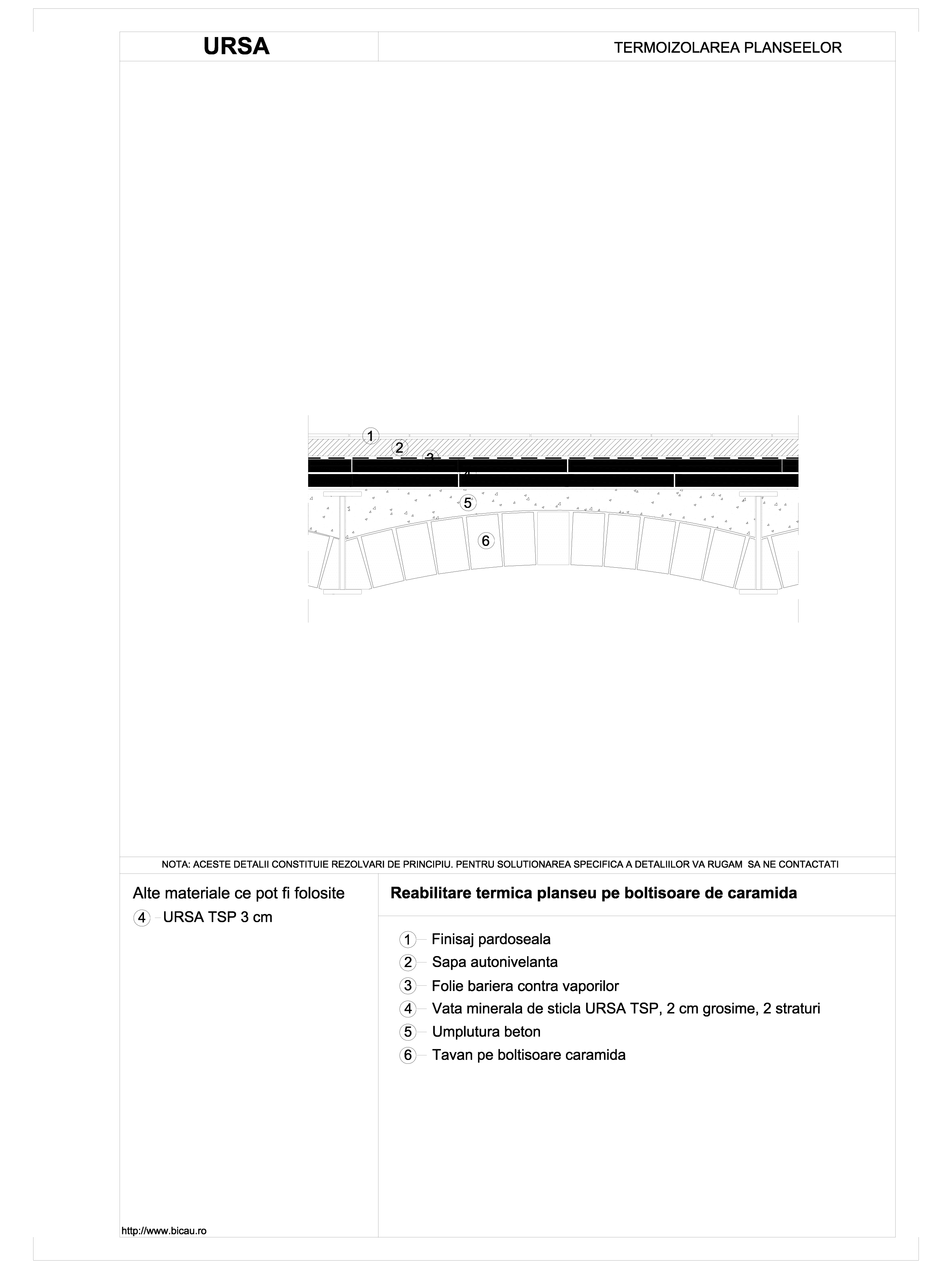 Pagina 1 - CAD-DWG Reabilitare termica planseu pe boltisoare de caramida URSA Detaliu de montaj TSP