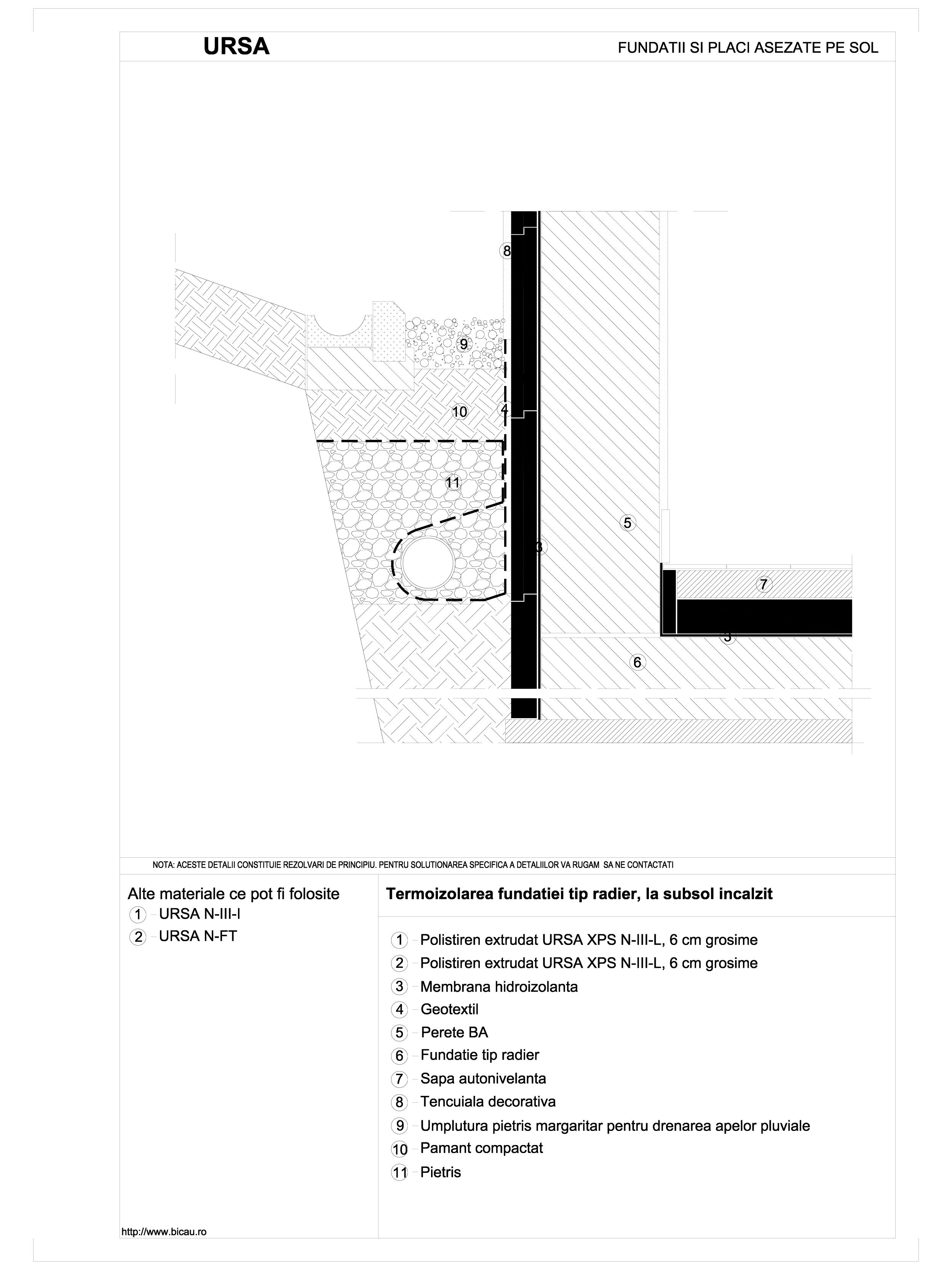 Pagina 1 - CAD-DWG Termoizolarea fundatiei tip radier, la subsol incalzit URSA Detaliu de montaj