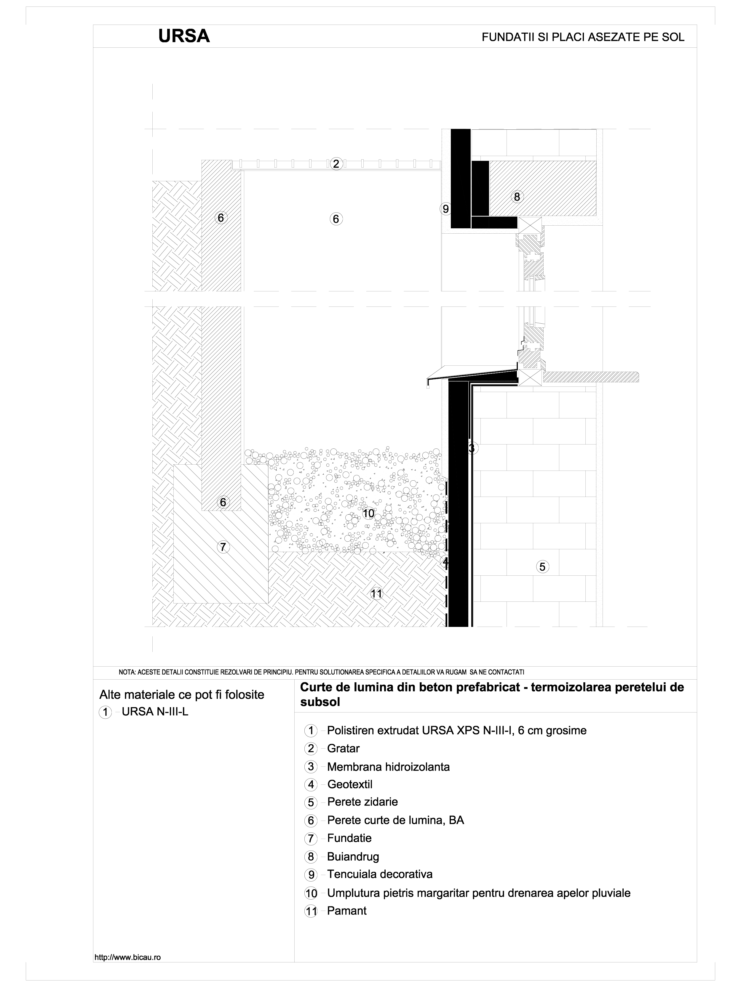 Pagina 1 - CAD-DWG Curte de lumina din beton prefabricat - termoizolarea peretelui de subsol URSA...