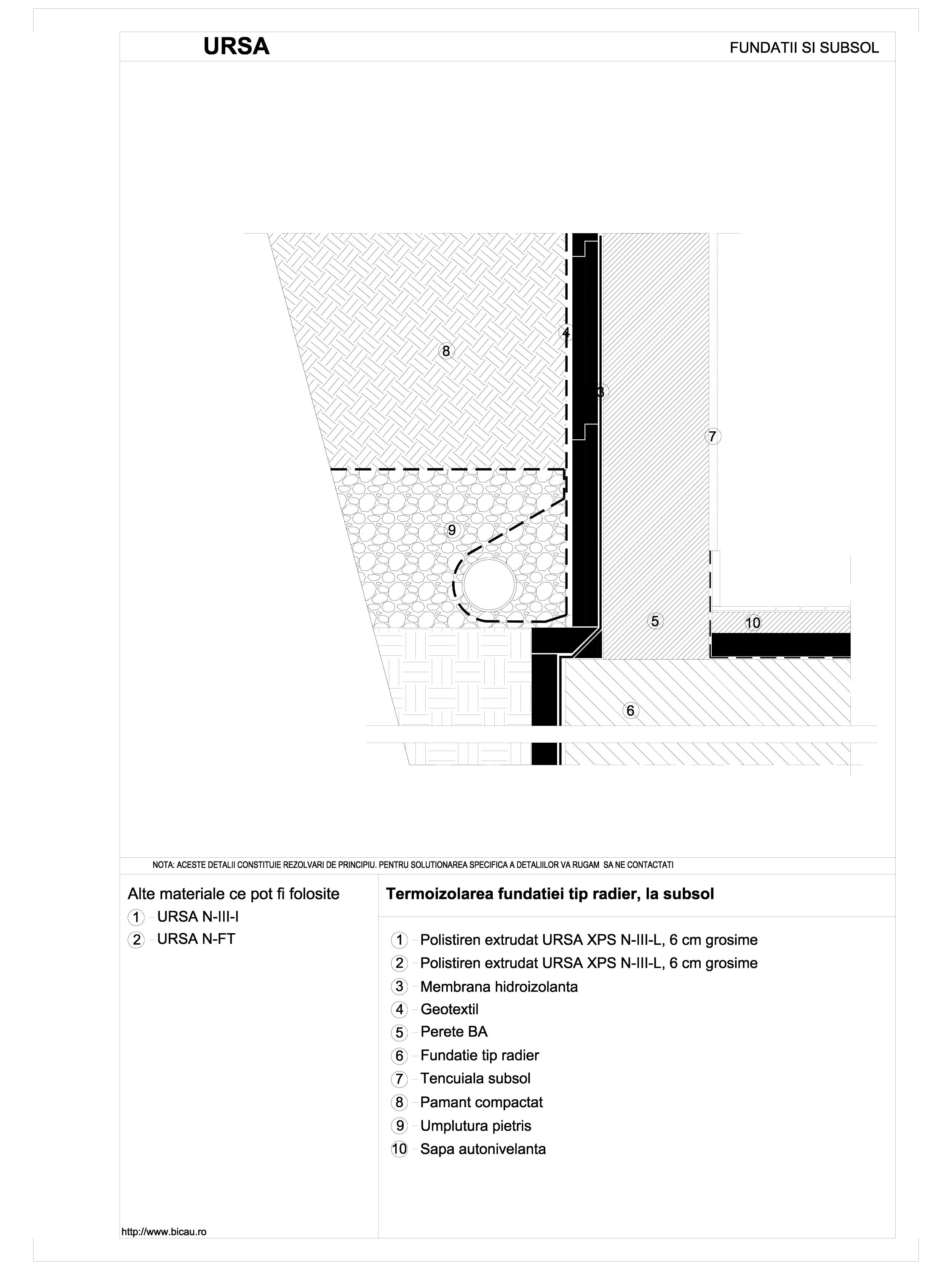 Pagina 1 - CAD-DWG Termoizolarea fundatiei tip radier, la subsol URSA Detaliu de montaj