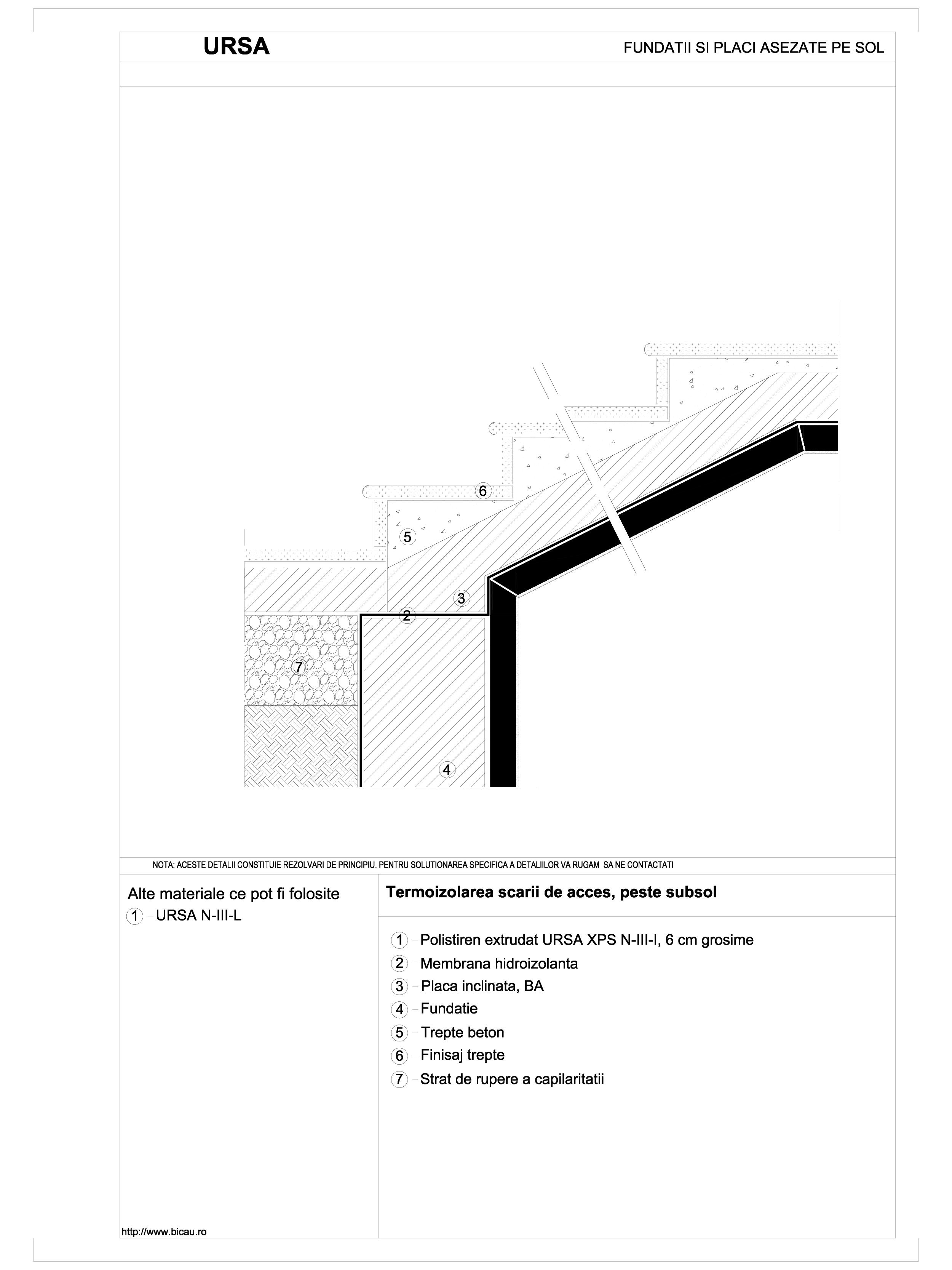 Pagina 1 - CAD-DWG Termoizolarea scarii de acces, peste subsol URSA Detaliu de montaj