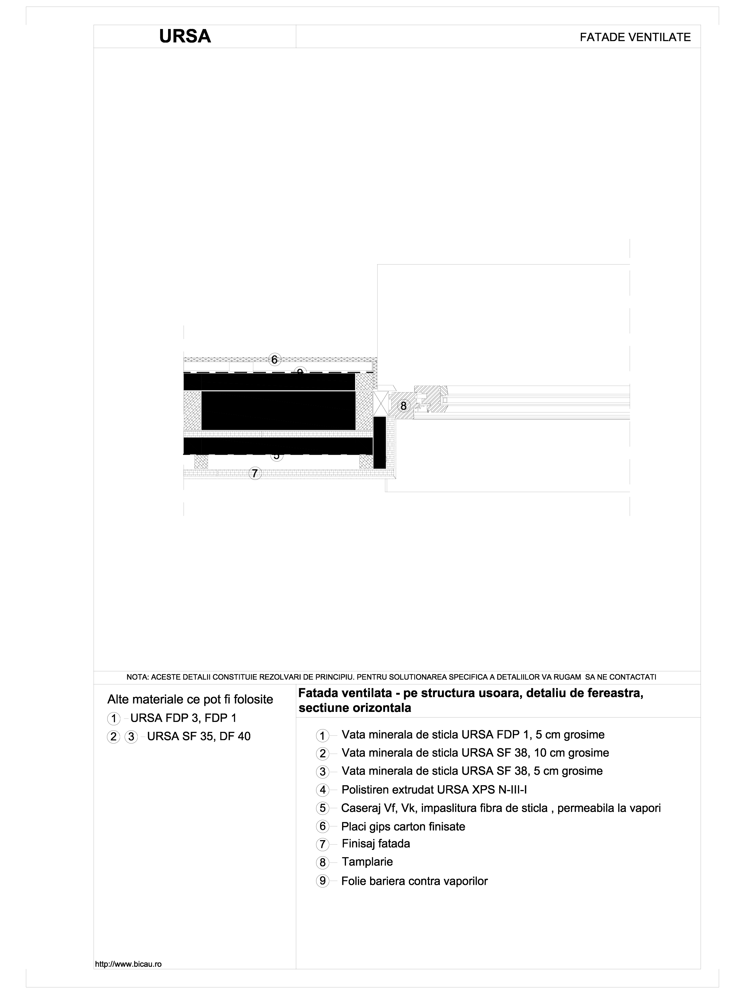 Pagina 1 - CAD-DWG Fatada ventilata - pe structura usoara, detaliu de fereastra, sectiune orizontala...