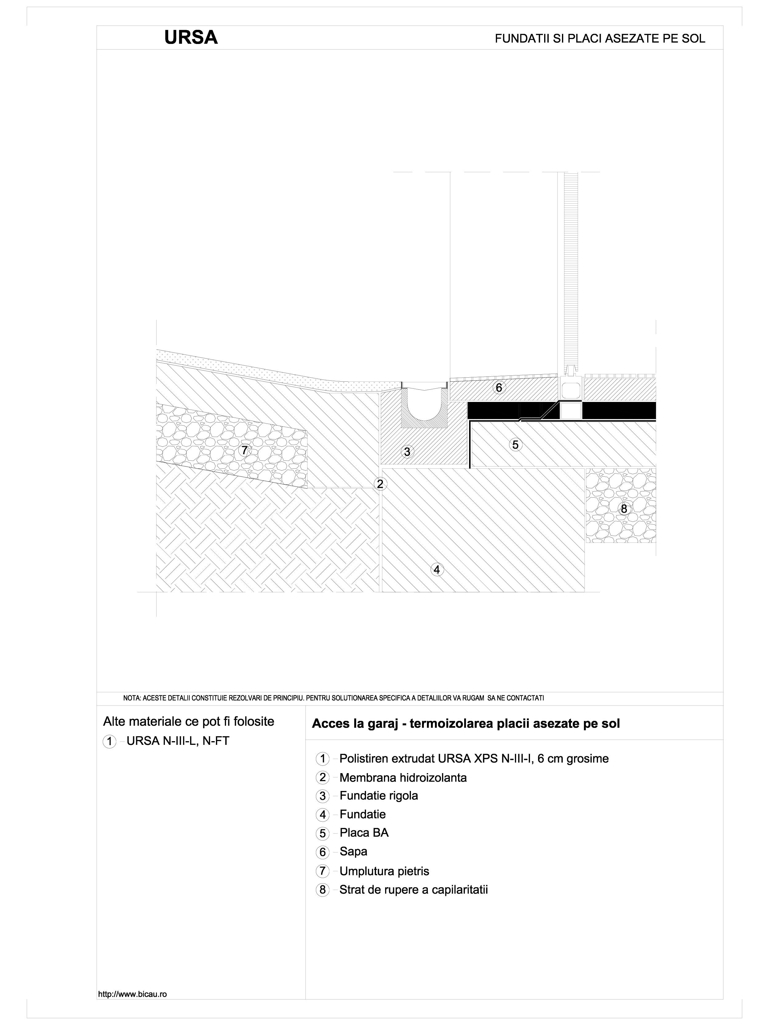 Pagina 1 - CAD-DWG Acces la garaj - termoizolarea placii asezate pe sol URSA Detaliu de montaj