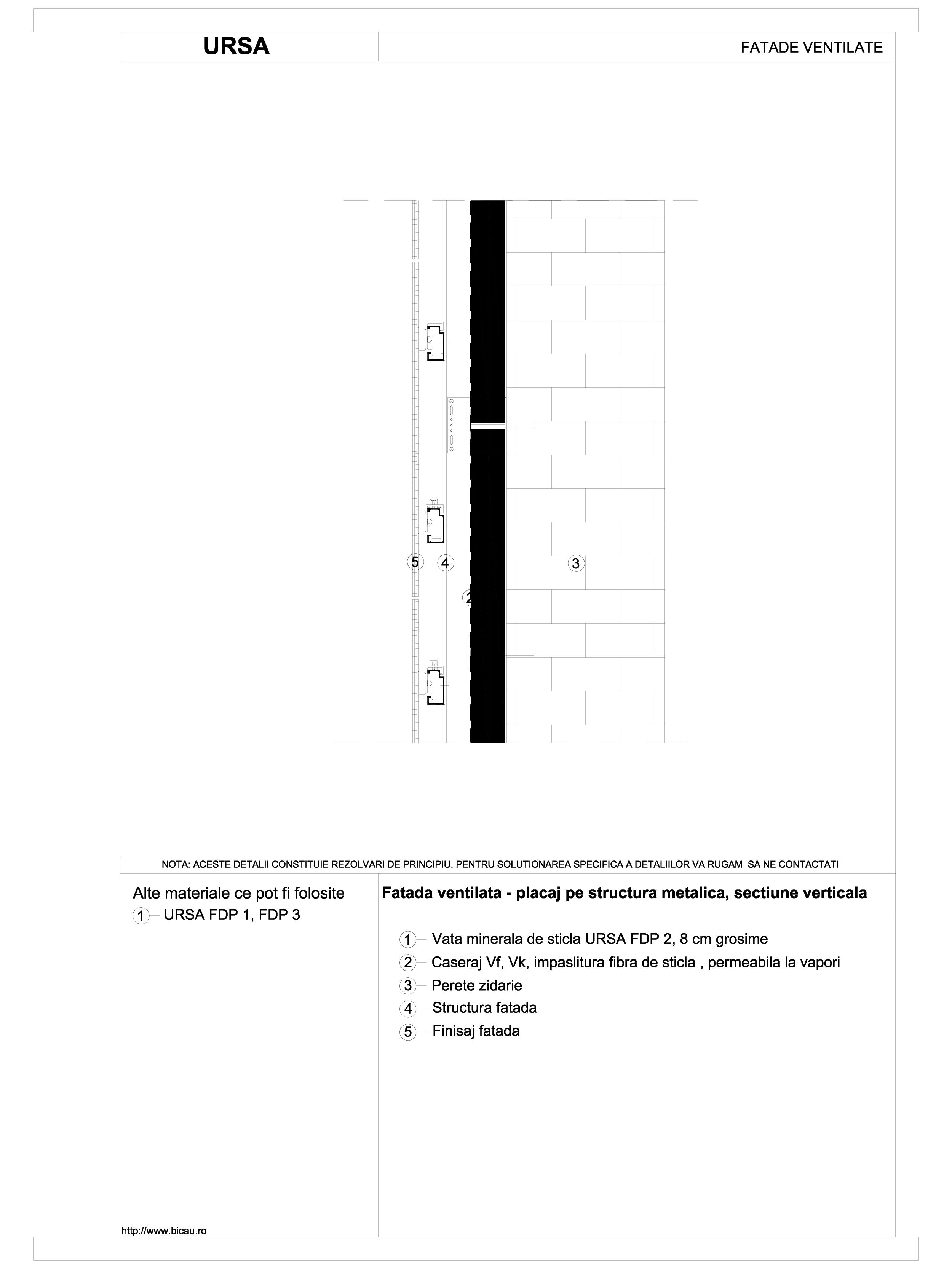 Fatada ventilata - placaj pe structura metalica, sectiune verticala URSA Vata minerala de sticla pentru fatade ventilate URSA ROMANIA   - Pagina 1