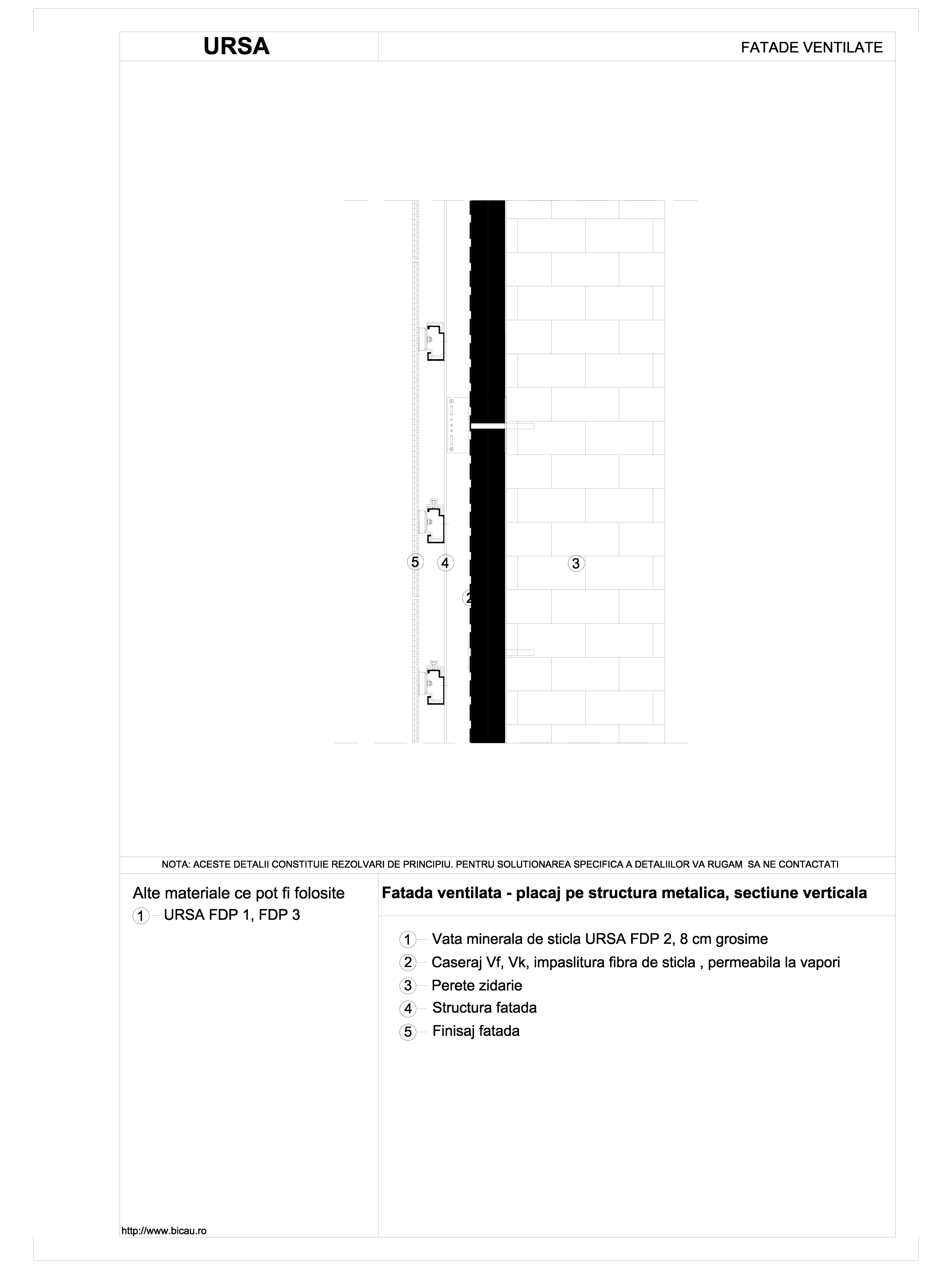 Pagina 1 - CAD-DWG Fatada ventilata - placaj pe structura metalica, sectiune verticala URSA Detaliu ...