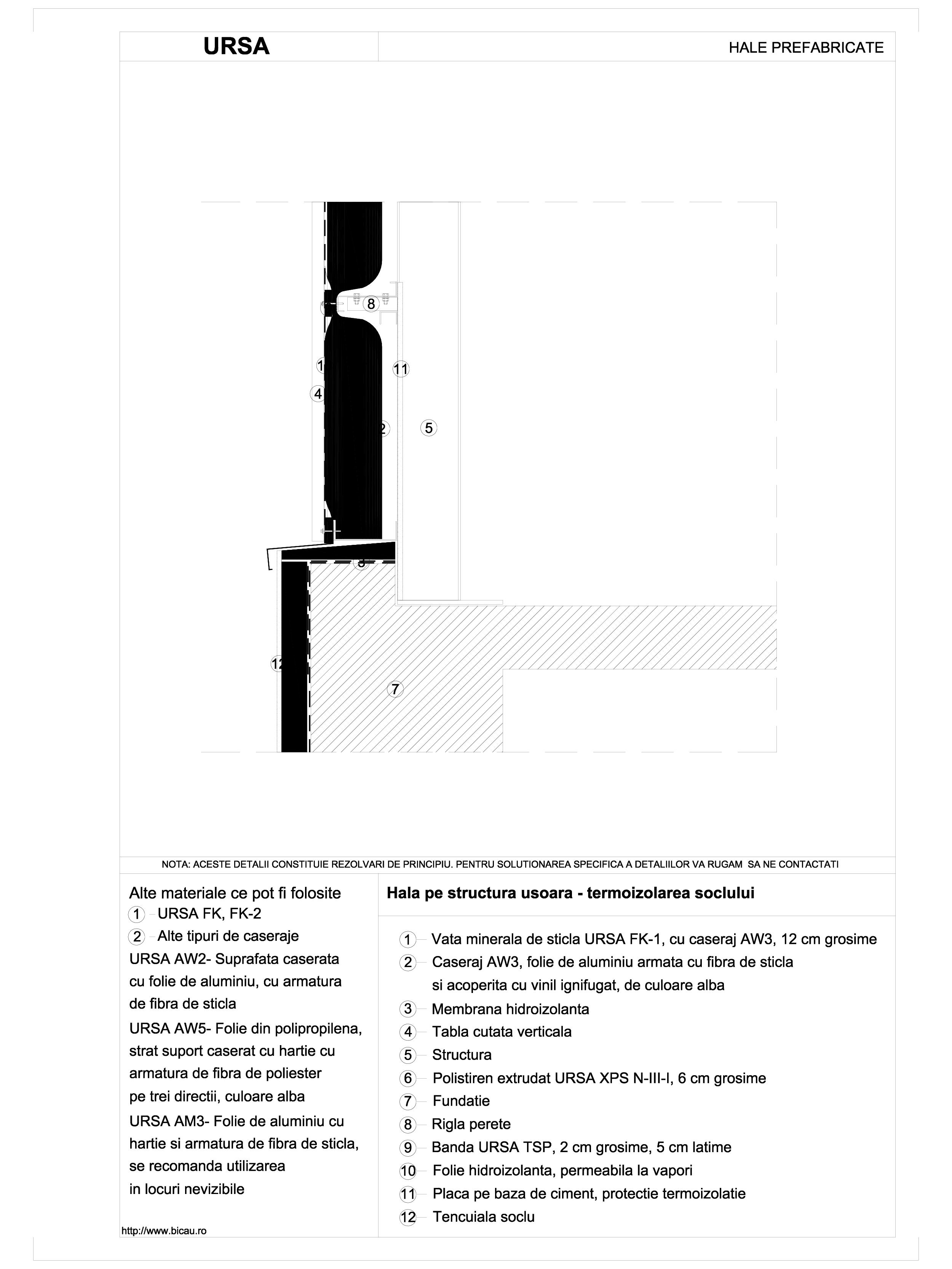Pagina 1 - CAD-DWG Hala pe structura usoara - termoizolarea soclului URSA Detaliu de montaj