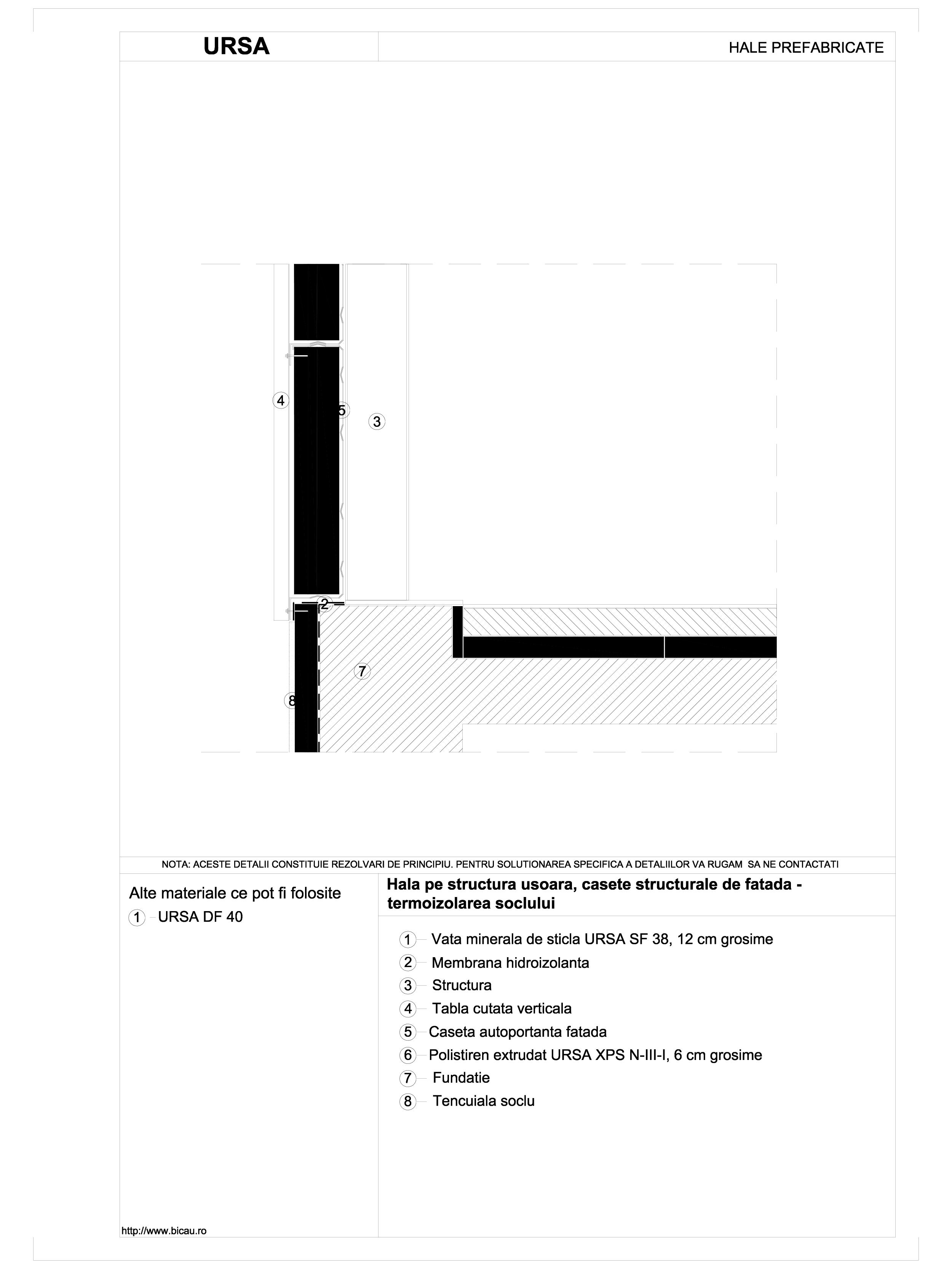 Hala pe structura usoara, casete structurale de fatada - termoizolarea soclului URSA Vata minerala pentru fatade neventilate si hale prefabricate URSA ROMANIA   - Pagina 1