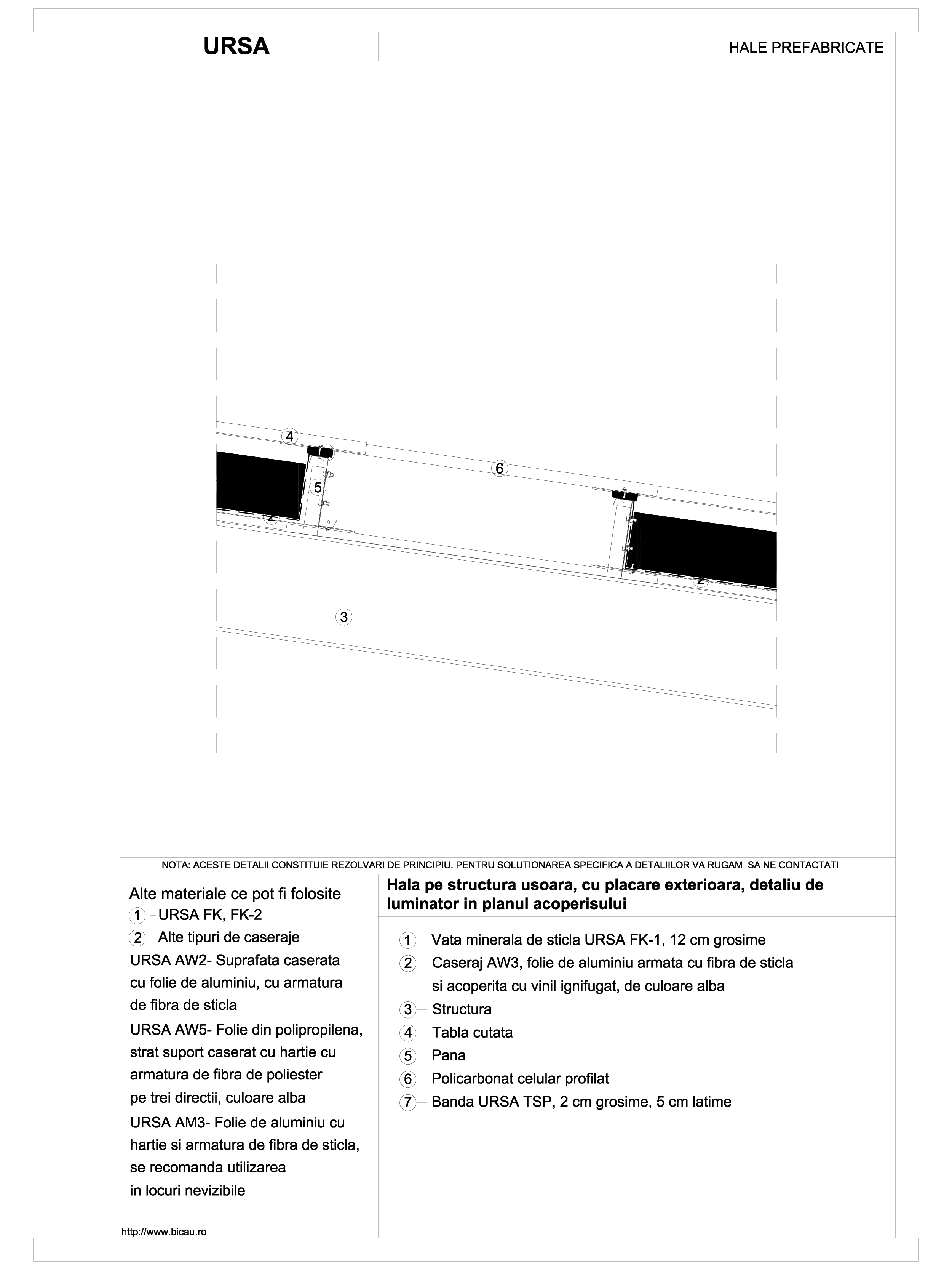 Hala pe structura usoara, cu placare exterioara, detaliu de luminator in planul acoperisului URSA Vata minerala pentru fatade neventilate si hale prefabricate URSA ROMANIA   - Pagina 1