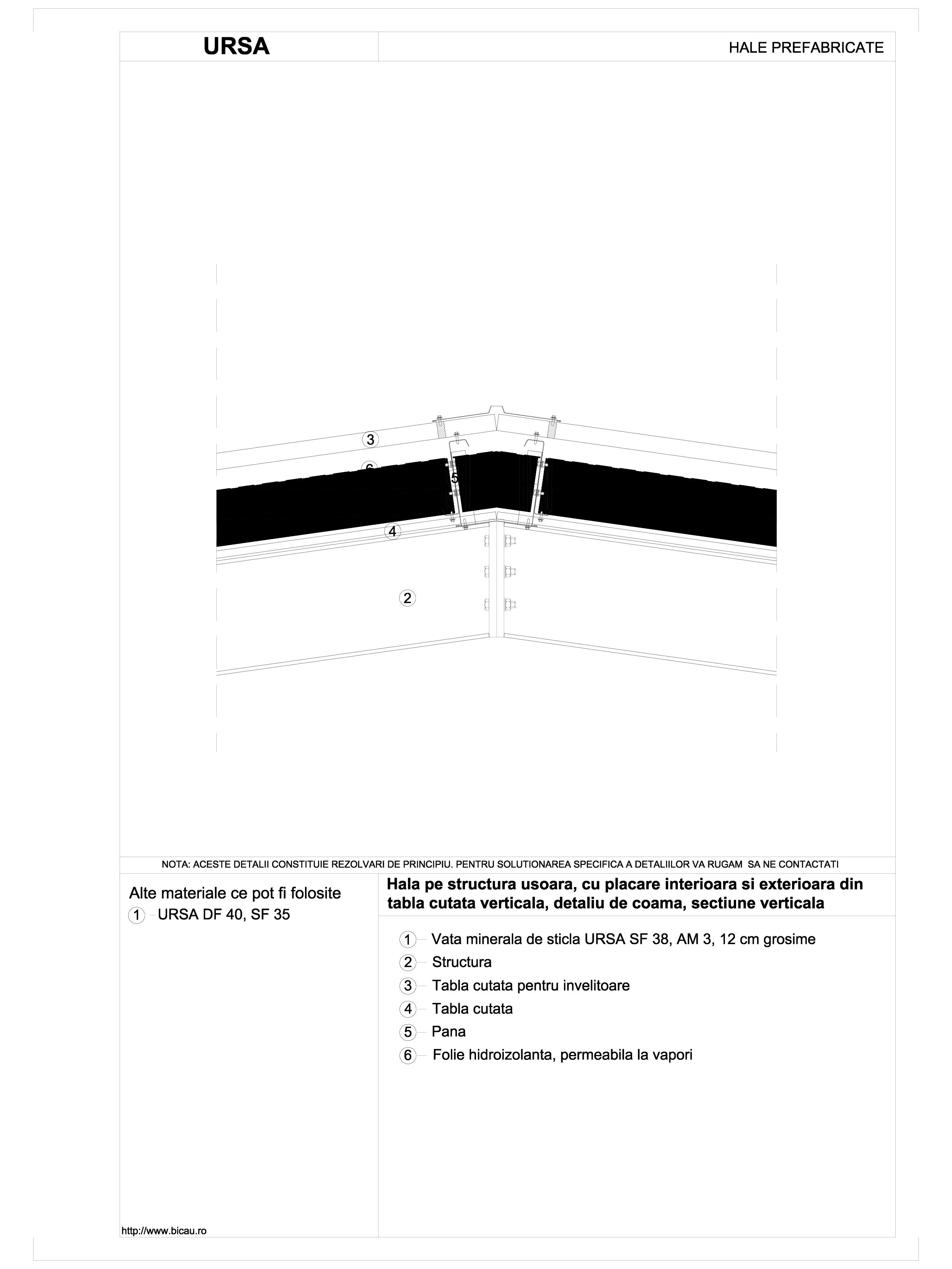 Hala pe structura usoara, cu placare interioara si exterioara din tabla cutata verticala, detaliu de coama, sectiune verticala URSA Vata minerala pentru fatade neventilate si hale prefabricate URSA ROMANIA   - Pagina 1
