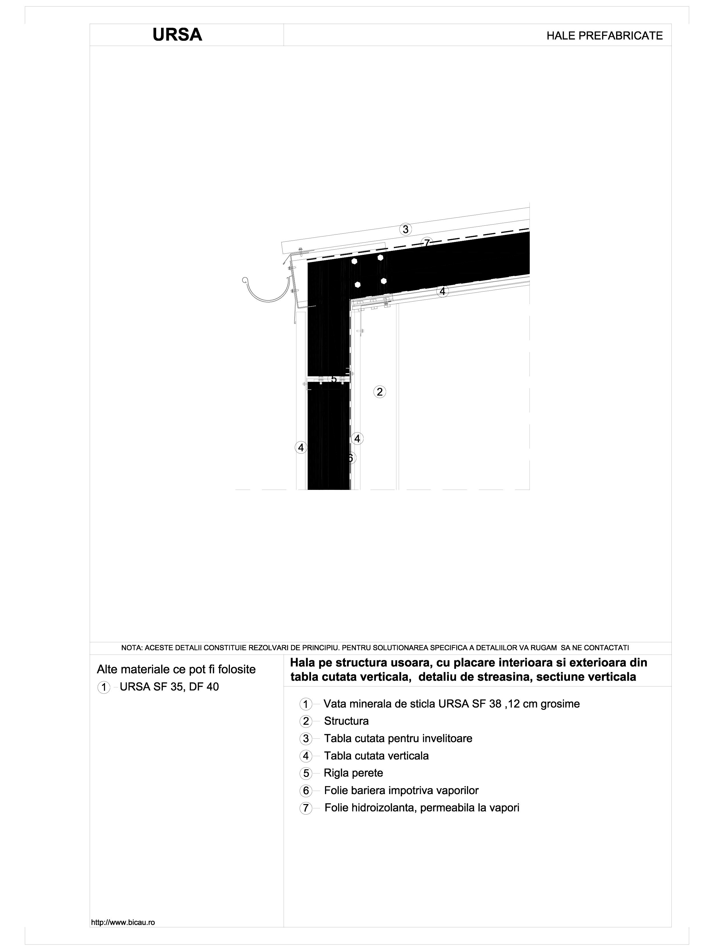Hala pe structura usoara, cu placare interioara si exterioara din tabla cutata verticala, detaliu de streasina, sectiune verticala URSA Vata minerala pentru fatade neventilate si hale prefabricate URSA ROMANIA   - Pagina 1