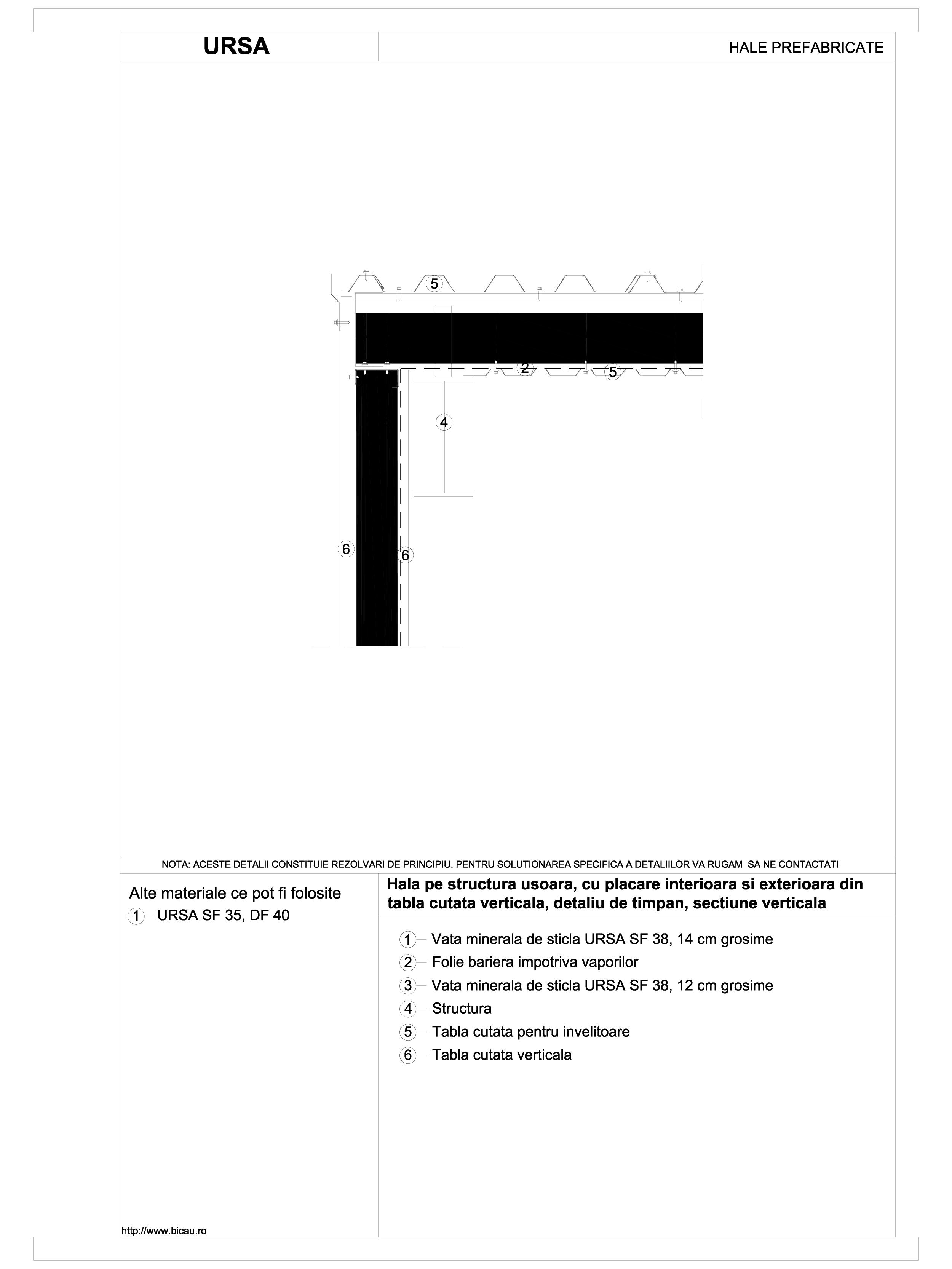Hala pe structura usoara, cu placare interioara si exterioara din tabla cutata verticala, detaliu de timpan, sectiune verticala URSA Vata minerala pentru fatade neventilate si hale prefabricate URSA ROMANIA   - Pagina 1