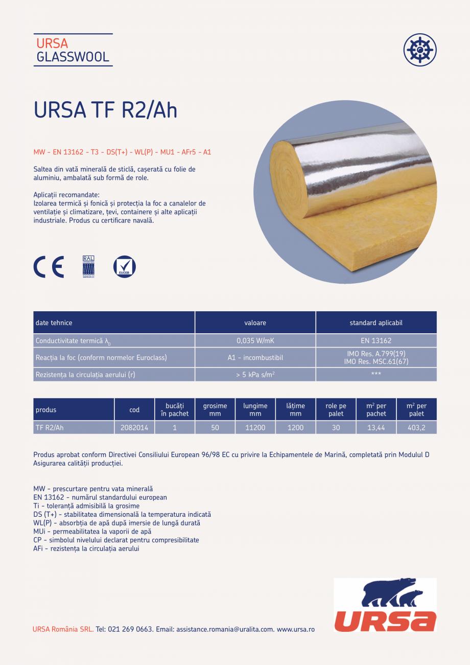 Pagina 1 -  Saltea din vata minerala de sticla URSA TF R2/Ah Fisa tehnica Romana URSA GLASSWOOL ...