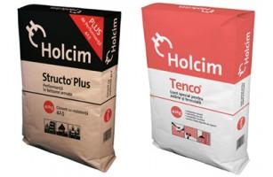 Produse Holcim la sac Structo Plus® este un ciment  Portland compozit cu rezistenta initiala  mare, utilizat la prepararea  betoanelor simple, armate si usoare. Prezentare sac: 40 kg, Termen valabilitate: 90 zile. Tenco® este un liant hidraulic sub forma de pulbere, utilizat la   prepararea mortarelor de zidarie si tencuiala. Este un produs cu   calitati speciale avand in compozitie clincher de ciment Portland,   adaosuri mineralogice si aditivi.