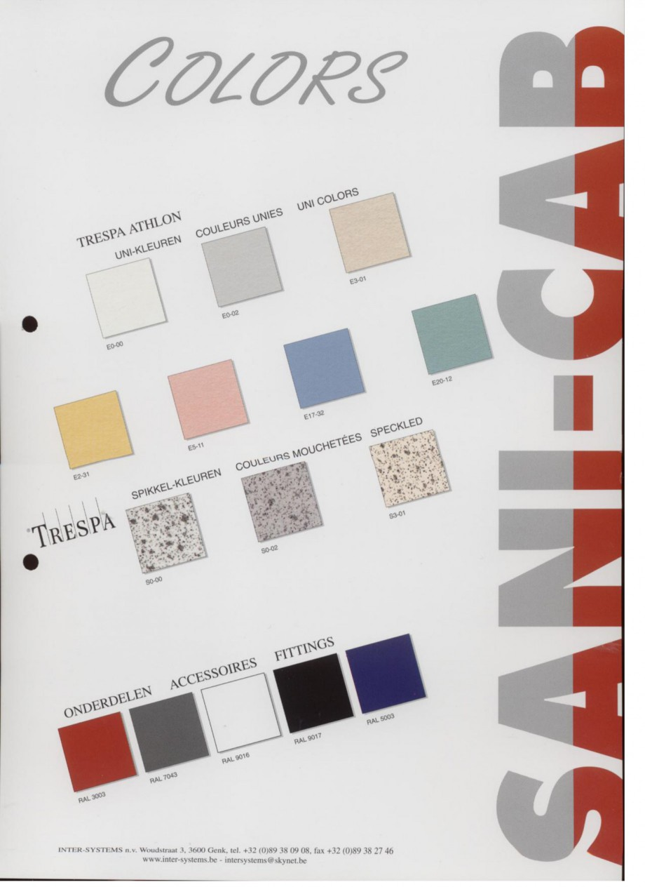 Pagina 1 - Paletar pentru cabine sanitare SANI-CAB Catalog, brosura Engleza