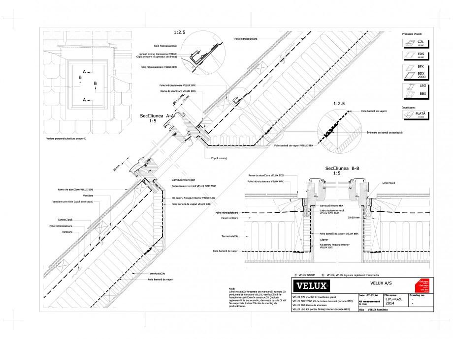 Pagina 1 - CAD-DWG Ferestre de mansarda - Montaj pe invelitoare plata EDS + GZL VELUX Detaliu de...