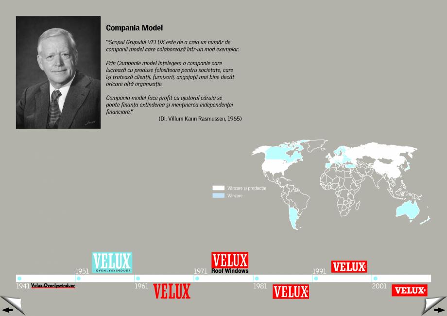 Pagina 2 - Evolutia in timp - Istoria Companiei din 1942 si pana in prezent VELUX Catalog, brosura...