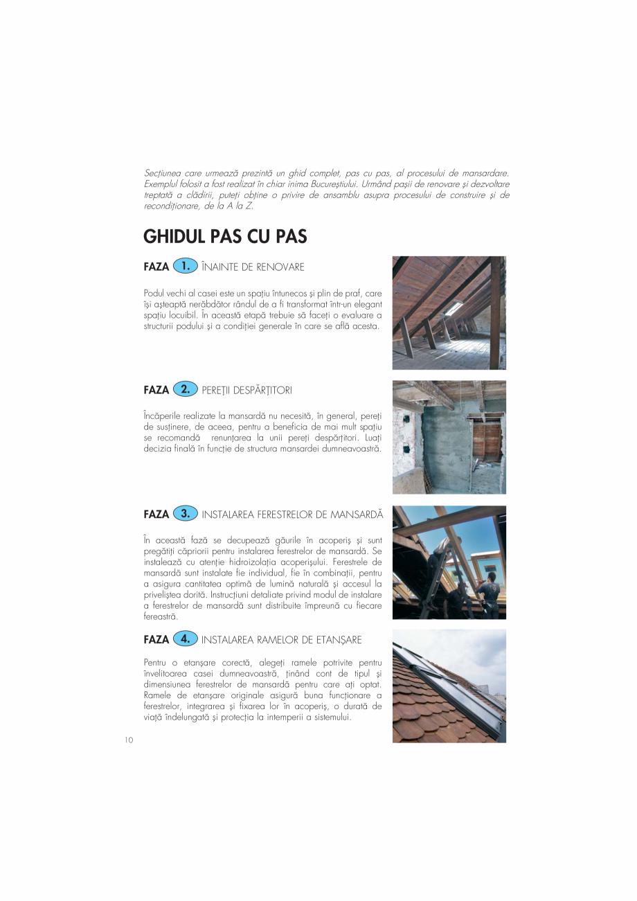 """Pagina 10 - Ghid de renovare pentru podul casei VELUX Instructiuni montaj, utilizare Romana """" a..."""