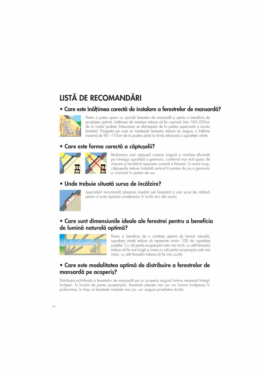 """Pagina 14 - Ghid de renovare pentru podul casei VELUX Instructiuni montaj, utilizare Romana sar""""..."""