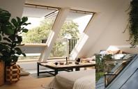 Solutii produse pentru extinderea spatiului Mult mai mult decat o simpla fereastra - Balconul VELUX CABRIO poate schimba semnificativ o incapere. Este cea mai inedită modalitate de a adauga lumina naturala, ventilatie şi sentimentul de deschidere spatiilor de sub acoperis.