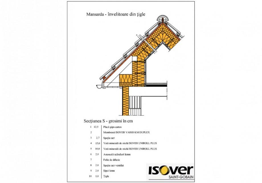 Pagina 1 - CAD-PDF Mansarda invelitoare din tigla ISOVER Detaliu de produs UNIROLL PLUS, SISTEM...