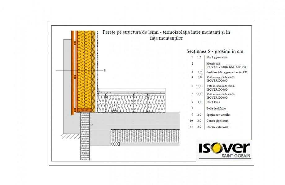 Pagina 1 - CAD-PDF Casa pe structura de lemn - izolatie intre montanti si in fata montantilor ISOVER...