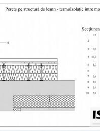 Casa pe structura de lemn - izolatie intre montanti