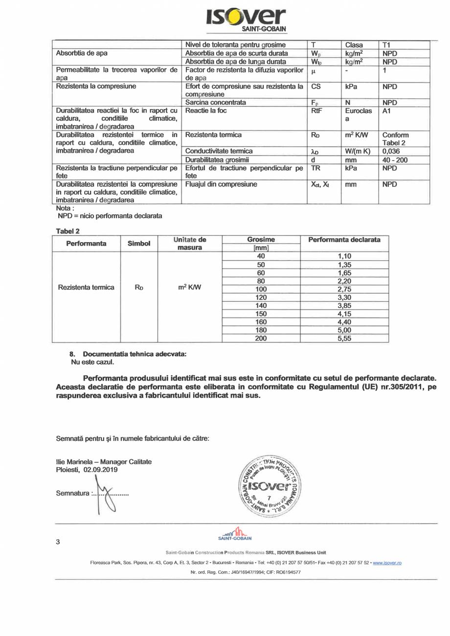 Pagina 3 - Declaratie de performanta pentru saltele comprimate si rulate din vata minerala de sticla...
