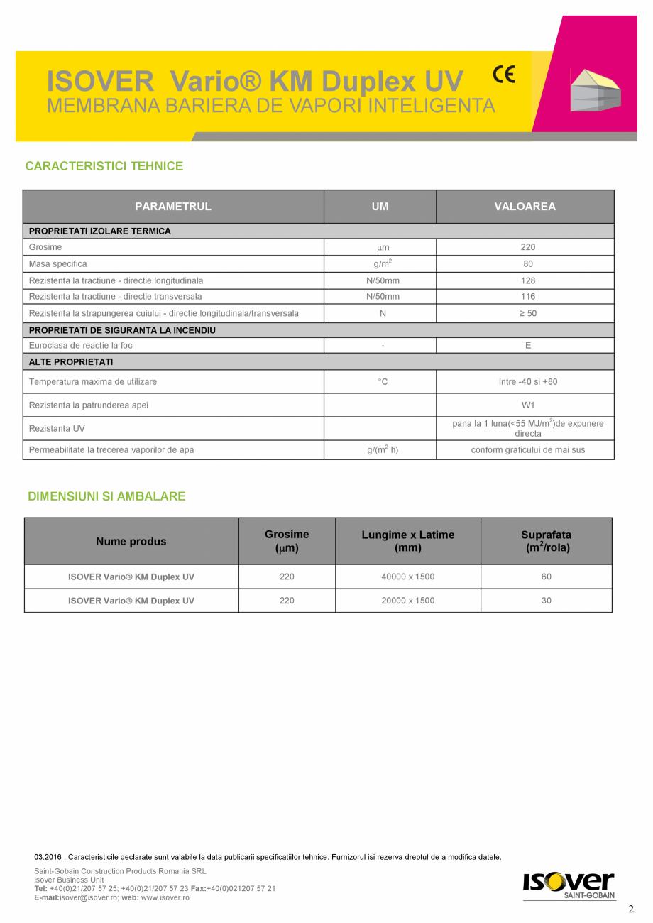 Pagina 2 - Membrana bariera de vapori  inteligenta ISOVER VARIO® KM Duplex UV ISOVER SISTEM...