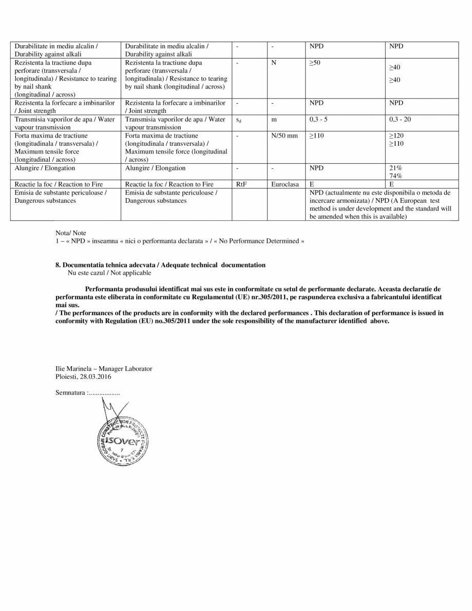 Pagina 2 - Declaratie de performanta  pentru membrana bariera de vapori VARIO® KM DUPLEX UV...