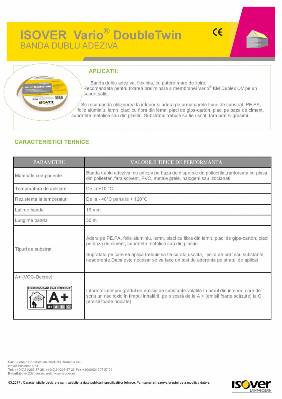 Pagina 1 - Banda dublu adeziva ISOVER VARIO® DoubleTwin ISOVER SISTEM VARIO® Fisa tehnica...