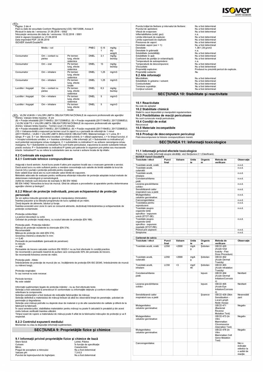 Pagina 2 - Fisa cu date de securitate - ISOVER VARIO® DoubleFit ISOVER SISTEM VARIO®...