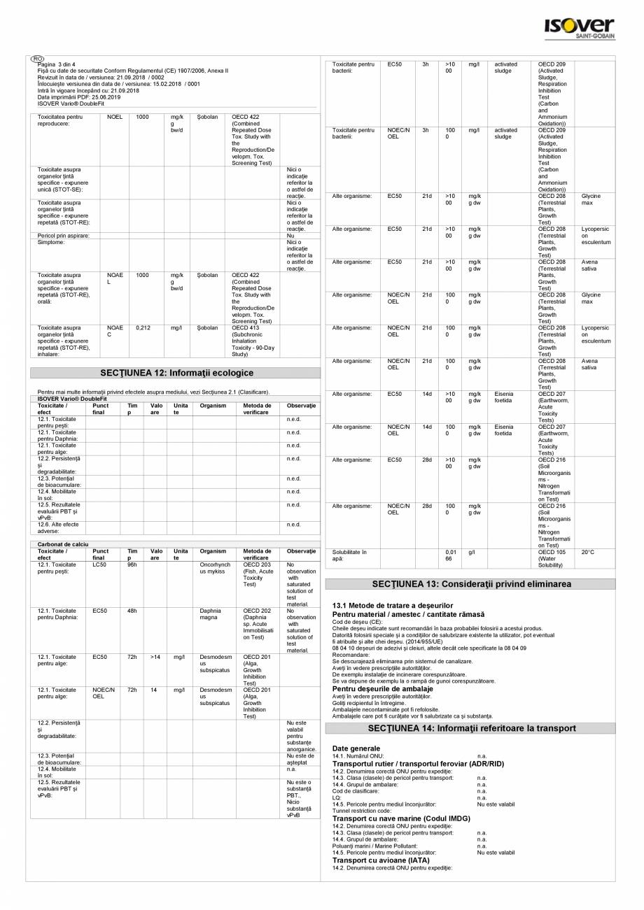 Pagina 3 - Fisa cu date de securitate - ISOVER VARIO® DoubleFit ISOVER SISTEM VARIO®...