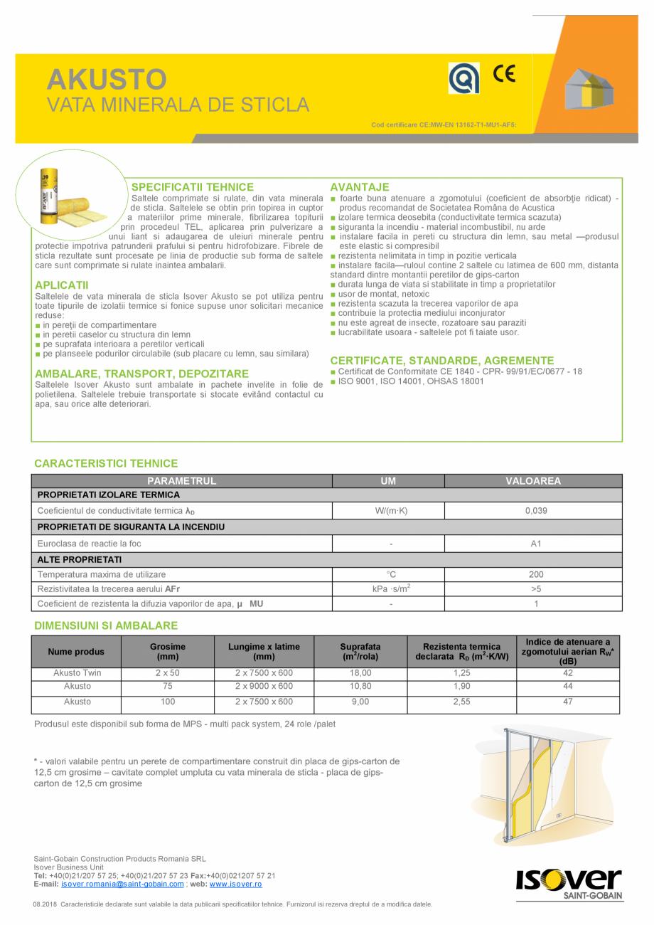 Pagina 1 - Saltele comprimate si rulate, din vata minerala de sticla ISOVER AKUSTO Fisa tehnica...