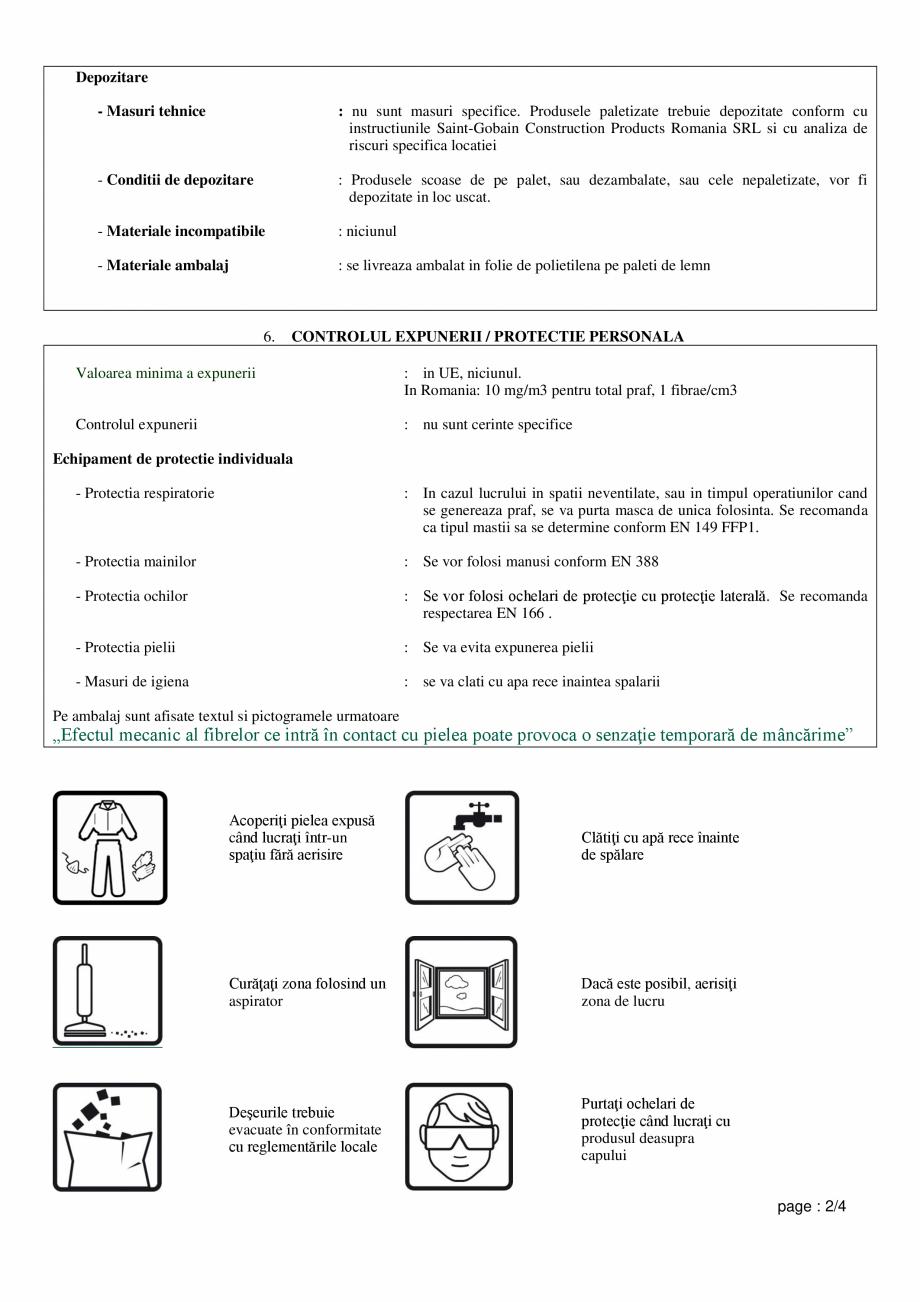 Pagina 2 - Fisa de utilizare si securitate pentru vata minerala de sticla ISOVER AKUSTO Instructiuni...