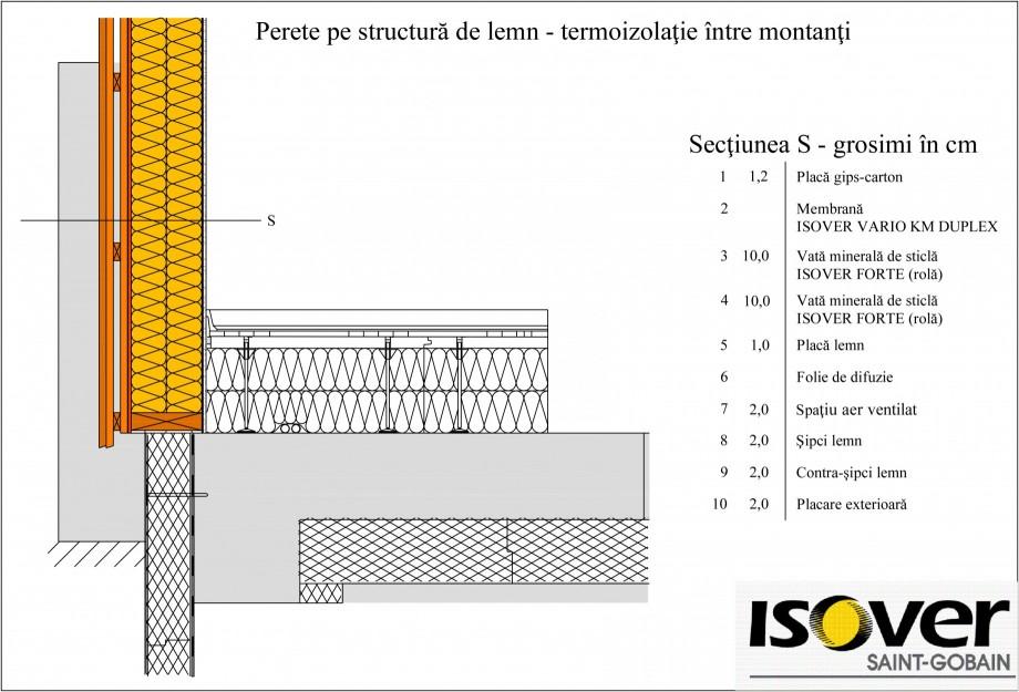Pagina 1 - CAD-PDF Casa pe structura de lemn - Izolatie intre montanti ISOVER Detaliu de montaj...
