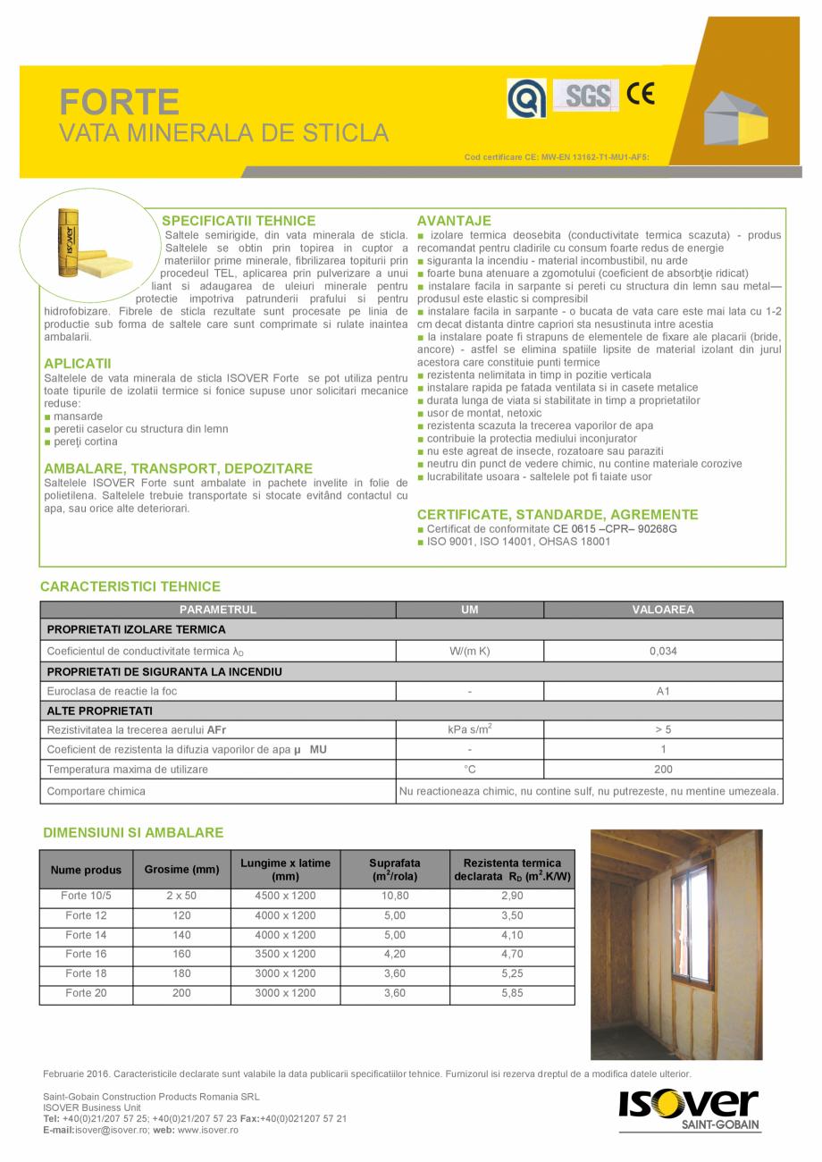 Pagina 1 - Vata minerala de sticla ISOVER FORTE (ROLA) Fisa tehnica Romana FORTE  VATA MINERALA DE...