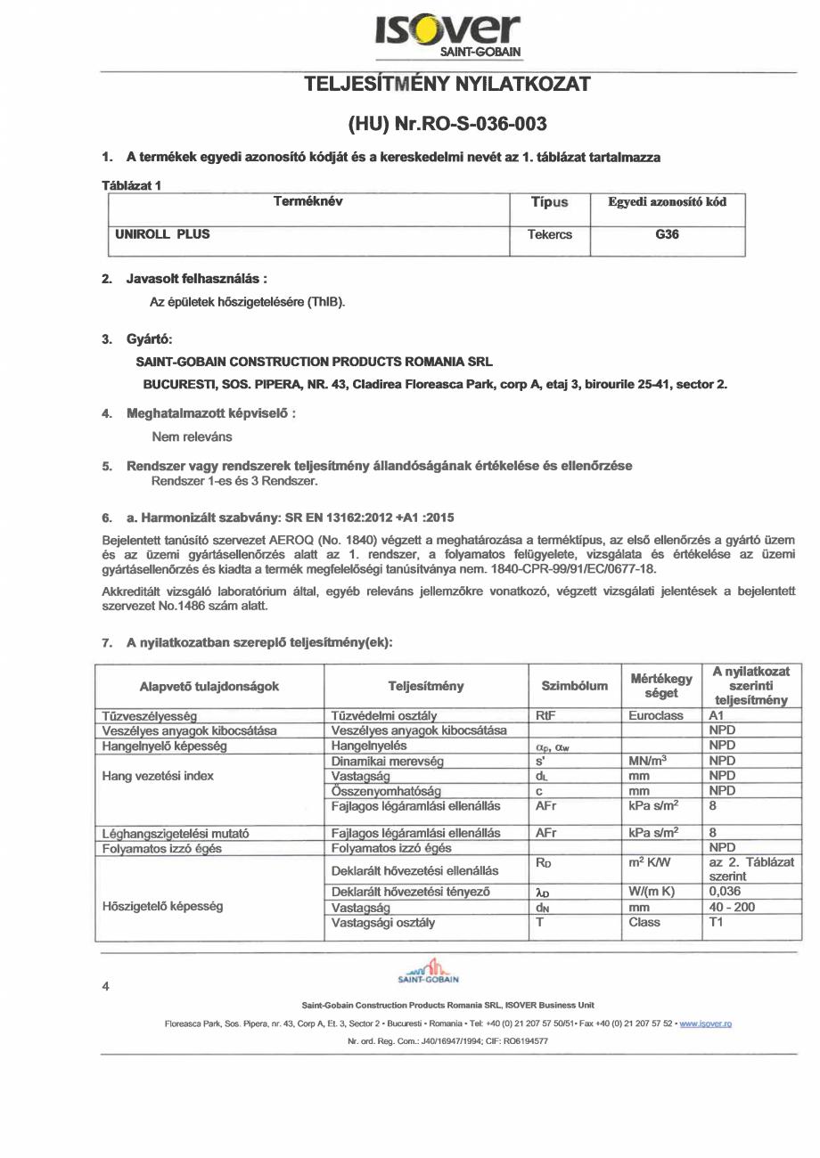 Pagina 4 - Declaratie de performanta pentru vata minerala de sticla ISOVER UNIROLL PLUS Certificare ...