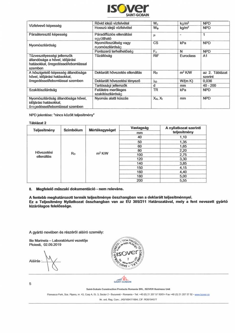 Pagina 5 - Declaratie de performanta pentru vata minerala de sticla ISOVER UNIROLL PLUS Certificare ...