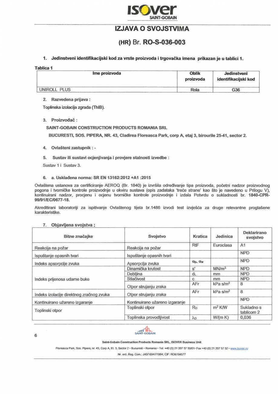 Pagina 6 - Declaratie de performanta pentru vata minerala de sticla ISOVER UNIROLL PLUS Certificare ...