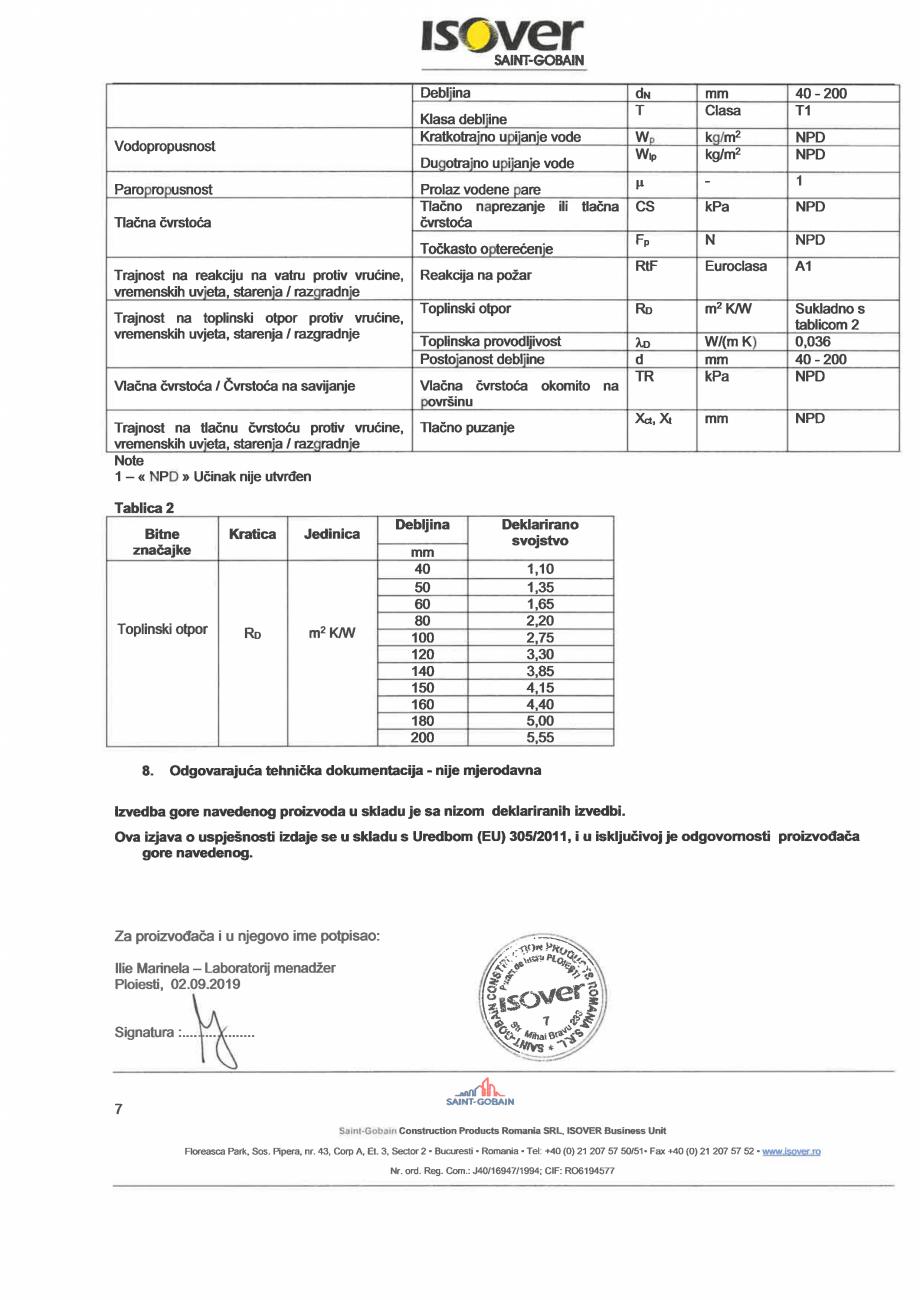 Pagina 7 - Declaratie de performanta pentru vata minerala de sticla ISOVER UNIROLL PLUS Certificare ...
