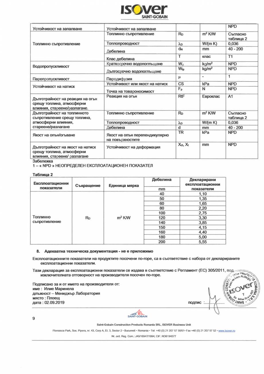 Pagina 9 - Declaratie de performanta pentru vata minerala de sticla ISOVER UNIROLL PLUS Certificare ...