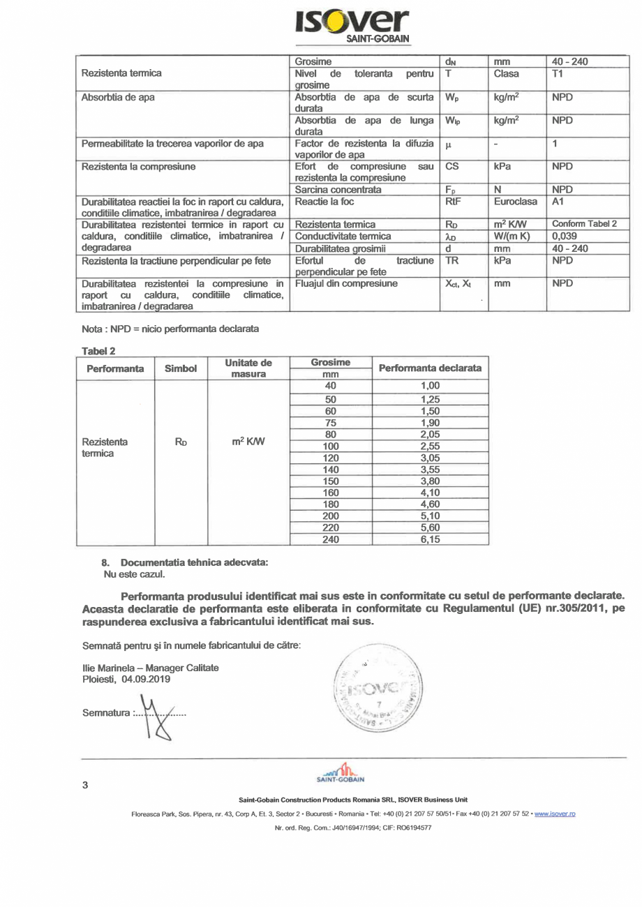 Pagina 3 - Declaratie de performanta pentru vata minerala de sticla ISOVER DOMO Certificare produs...