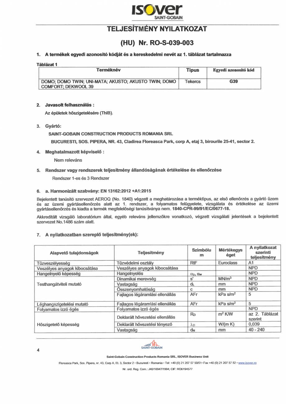 Pagina 4 - Declaratie de performanta pentru vata minerala de sticla ISOVER DOMO Certificare produs...