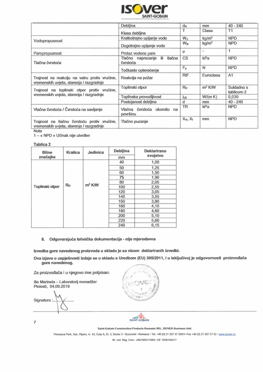 Pagina 7 - Declaratie de performanta pentru vata minerala de sticla ISOVER DOMO Certificare produs...