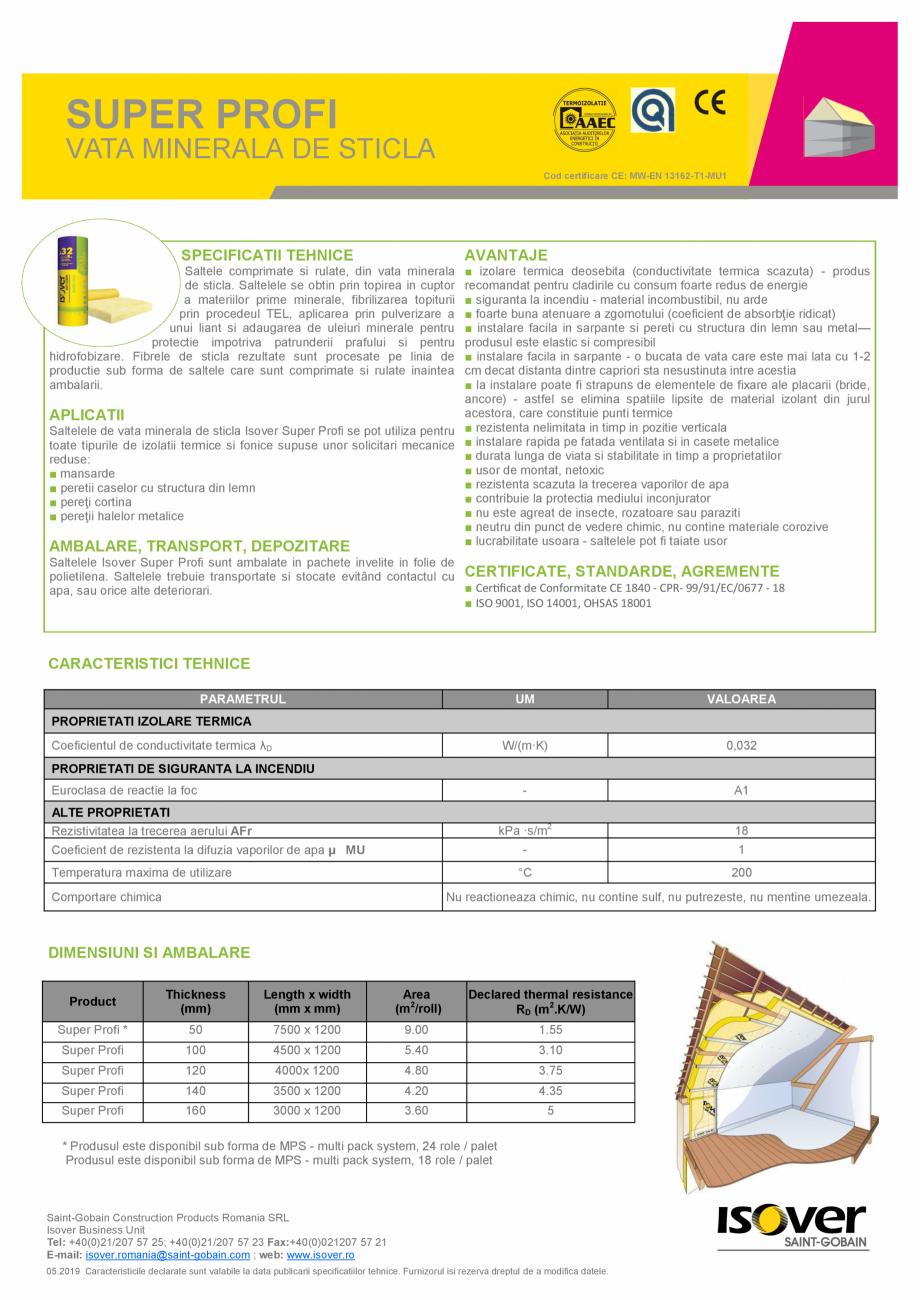 Pagina 1 - Vata minerala de sticla   ISOVER SUPER PROFI Fisa tehnica Romana SUPER PROFI  VATA...
