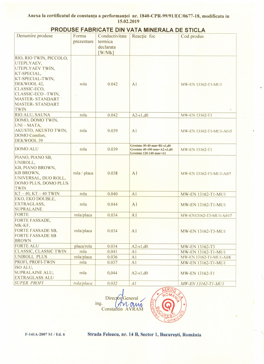 Pagina 2 - Certificat de constanta a performantei pentru vata minerala de sticla ISOVER SUPER PROFI ...