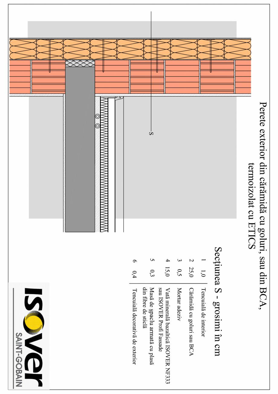 Perete exterior din caramida sau BCA - sistem ETICS NF 333 ISOVER Termoizolatii din vata bazaltica pentru termosisteme SAINT-GOBAIN CONSTRUCTION PRODUCTS ROMANIA SRL, ISOVER BUSINESS UNIT  - Pagina 1