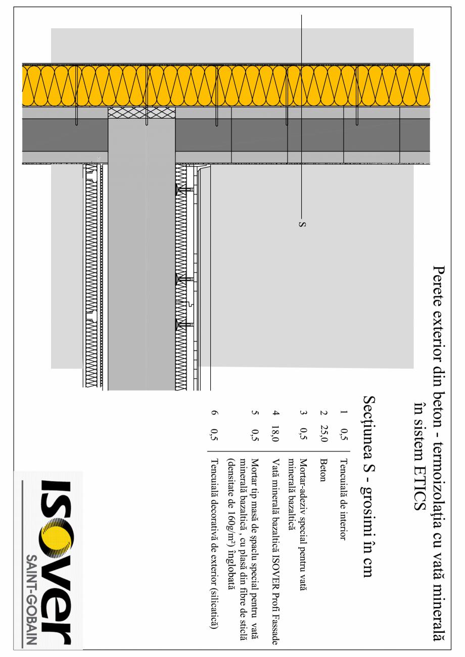 Pagina 1 - CAD-PDF Perete exterior din beton - sistem ETICS ISOVER Detaliu de montaj